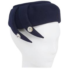 1950s Rhinestone Detail Navy Hat | From a collection of rare vintage hats at https://www.1stdibs.com/fashion/accessories/hats/