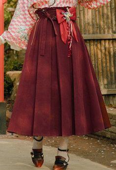 Wa Lolita Fashion Retro Japanese Taishō Period Style High Waist Pleated Green Burgundy Yellow Maxi S