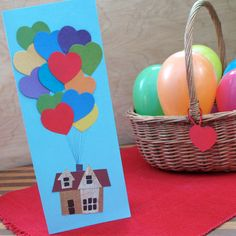 Awwwww! Template for Disney's UP! Valentine's Day Card!! Heart Balloon Bouquet | Crafts | Spoonful DIY make your own card idea for Valentine's or moving announcements or even a wedding card that is easy to make - homemade card ideas