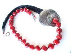 Red Coral and Multi Strands Cord Necklace Handmade by AnnaRecycle