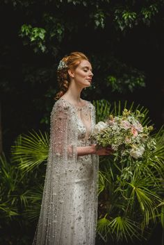 Celestial wedding - Wild + Natural Midsummer Nights Dream Inspired Bridal Elegance, with a Jenny Packham Celestial Cape – Celestial wedding Fairy Wedding Dress, Wedding Cape, Bridal Cape, Dream Wedding Dresses, Wedding Gowns, Wedding Blog, Wedding Dresses With Cape, Pagan Wedding Dresses, Autumn Wedding