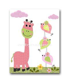 Giraffe Nursery Art Baby Nursery Print Baby Girl Nursery Decor Printable Print Digital Download Print 8x10 11X14 INSTANT DOWNLOAD birds rose by nataeradownload on Etsy