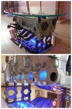 Mira estas 8 mesas de centro hechas con motores reciclados que puedes adquirir en Ebay – Manos a la Obra