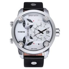 Men Watch North Sports Movements Leather Analog Quartz Waterproof Wristwatch