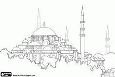 The Hagia Sophia or the Holy Wisdom in Istanbul, Turkey. One of the most important works of Byzantine architecture coloring page – Aysu Demiray – Join the world of pin Byzantine Architecture, Historical Architecture, Islamic Architecture, Hagia Sophia, Monuments, November Wallpaper, Fall Background, Islamic Calligraphy, Calligraphy Art