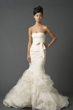 VERA WANG - Gemma Strapless sweetheart mermaid gown with asymmetrically draped bodice and cut organza blossom hem with blizzard beading technique