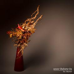 Sogetsu Ikebana with fallen Autumn Leaves - by Ilse Beunen