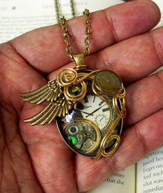 Steampunk Necklace N161  Wire Wrapped  Artwork by DesignsByFriston, $32.00