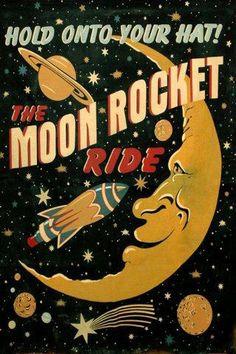 Moon Saturn Comet Rocket Ride Spaceship Travel Space Vintage Poster Repo Free SH | eBay
