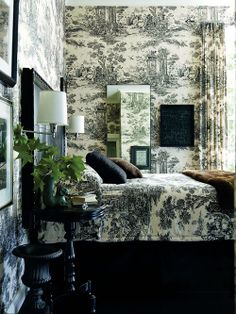Jamie Drake, photo by Eric Piasecki for Elle Decor May 2012 - I like the idea of the pattern continuing from wall to bedding / space to space