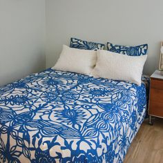 Queen Bed Cover in Applique Butterfly Bluelio Yo by gypsya on Etsy, $138.00