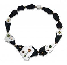 Martin Spreng Collier Printemps, Necklace Silver, gold, tourmaline cabochons, ebony