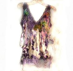 Reserved for Joan Lovely Unique Summer Evening Party SILK TOP Very Feminine Violet Green Lavender Croched Laces, Evening Tops, Summer Evening, Evening Party, Gipsy Fashion, Fashion Art, Embroidered Silk, Tie Dress, Cotton Lace, Silk Top