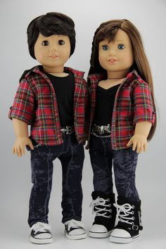 Two 4pc Boy and girl red plaid matching outfits, DolliciousClothes on Etsy $53.50