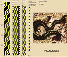 Esquema de Vitalinna Crochet Bracelet Pattern, Bead Crochet Patterns, Bead Crochet Rope, Seed Bead Patterns, Beaded Jewelry Patterns, Beading Patterns, Bead Jewellery, Seed Bead Jewelry, Snake Patterns