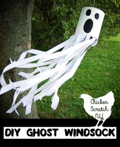 DIY Tin Can Ghost Windsock - MrsM Design - DIY Tin Can Ghost Windsock Get ready for Halloween with this DIY tutorial for a ghost windsock with ribbon and paint for a spooky friend straight from the recycle bin - Spooky Halloween, Halloween Arts And Crafts, Halloween Crafts For Toddlers, Easy Halloween Decorations, Theme Halloween, Fun Diy Crafts, Holidays Halloween, Halloween Costumes, Recycle Crafts