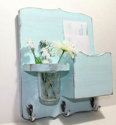 Mail organizer, shabby chic, floral vase, mail holder, key hooks, mail holder, wood, distressed, vintage, home decor,painted Baby Blue