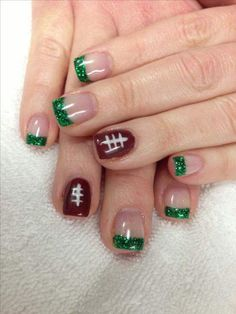 Football Nail Art designs for Super Bownl LIII are here. Check out these Fanicures and easy Super bowl Nail art designs & football inspired manicures. Football Nail Designs, Football Nail Art, Football Stuff, Fingernail Designs, Nail Art Designs, Nails Design, French Nails, Nagel Hacks, Get Nails