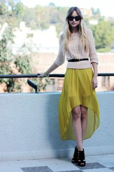 love this mustard yellow asymmetrical skirt and sweater combo.