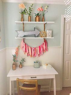 Girls bedroom, desk, coral, blush, mint, metallic gold