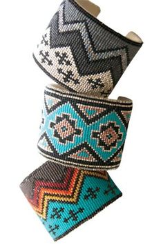 One of a kind Southwestern Beaded Cuff Bracelets by Kathleen Brannon