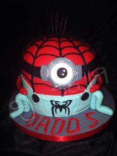 Minion Spiderman Cake Mein Hobby, Football Helmets, Minions, Spiderman, Baking, Cake, Pies, Spider Man, The Minions