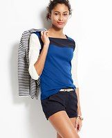 Colorblock Cotton Square Neck Top - Polished cotton goes graphically bold with sporty, clean lines and modern colorblock detail. Square neck. 3/4 sleeves. Front and back yoke.
