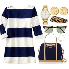 A fashion look from July 2014 featuring Kate Spade tote bags, Kate Spade watches and Brooks Brothers earrings. Browse and shop related looks.