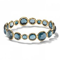 Ippolita 18K Gold Mini Lollipop Bangle -Blue Topaz
