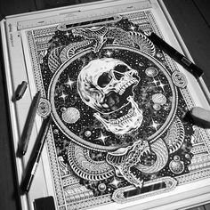© @sneakystudios 2015 #cosmic #skull #snake #infinity #illustration