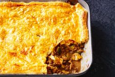 Bake your way to a family classic, a puff pastry topped meat pie. This version incorporates Swiss brown mushrooms, caramelised onion and zucchini.