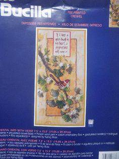 Bucilla Crewel Embroidery Kit Oriental Bird With Verse 42687 Nancy Rossi 2000 for sale online Crewel Embroidery Kits, Oriental, Bird, Prints, Ebay, Tapestry, Barrel, Birds, Birdwatching