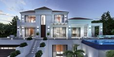 Awesome Modern Villa Architecture Ideas - Page 13 of 36 Style At Home, Modern Architecture House, Architecture Design, Bungalow Haus Design, African House, Modern Villa Design, Stucco Homes, Kerala House Design, Luxury Homes Dream Houses
