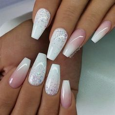 REPOST - - - - White with Glitter Ombre and French Fade on Sa .- REPOST – – – – White with glitter ombre and French fade on coffin nails – – – – … - Prom Nails, My Nails, Wedding Nails, Polish Nails, Bling Wedding, Bridal Nails, Wedding Beach, Diy Wedding, Lace Wedding