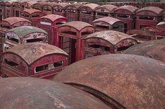 Phone box graveyard Carlton Miniott 14 Beautiful And Haunting Abandoned British Places Urban Decay, Desert Places, Bizarre, Haunted Places, Urban Exploration, Abandoned Buildings, Abandoned Places In The Uk, Abandoned Asylums, Wabi Sabi