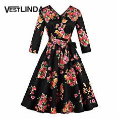 VESTLINDA Plus Size Floral Printed Midi Dress With Belt Vintage Women 3/4 Length Sleeves V Neck Kimono Dresses 4xl Vestido Retro #Affiliate