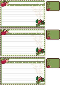 Free printable recipe cards and labes, print these recipe cards for your personal us