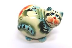 Potbelly Cat Figurine, Porcelain Fat Cat, Funny Cat sculptures, Ready to Ship, OOAK, Ceramic Handmade Statue, Smiling Cat Miniature by TheBestPresent on Etsy