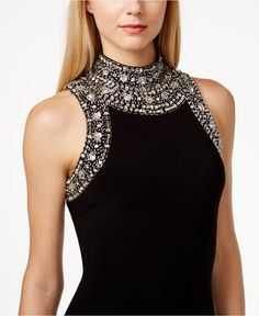 Betsy & Adam Mock-Neck Jewel-Trim Sleeveless Dress - Dresses - Women - Macy's Indian Designer Outfits, Designer Dresses, Embroidery Fashion, Flower Embroidery, Review Dresses, Couture Fashion, Steampunk Fashion, Gothic Fashion, Fashion Details