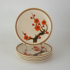 Mikasa Salad Plates Set of 5 Plum Blossom Flower by WoolTrousers, $32.00