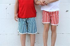 Getting ready for the 4th: Striped Shorts with Tutorial, part 2 | MADE