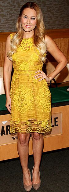 Who made  Lauren Conrad's suede nude pumps and yellow lace dress that she wore in New York?