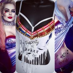 Harley Quinn Suicide Squad Bra rave wear, festival, cosplay ($74) ❤ liked on Polyvore featuring costumes, cosplay halloween costumes, role play costumes, harley quinn costume, harley quinn halloween costume and cosplay costumes