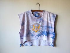 Presidential Physical Fitness --Bleached Out Tye Dye Crop Top Muscle Tee, Workout Fashion / Soft Grunge Style by RockAroundTheShop, $25.00 fashion - street style - grunge fashion - gym wear - hipster fashion