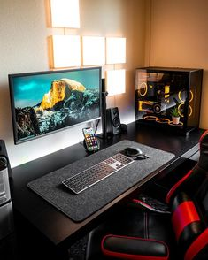 Computer Gaming Room, Computer Desk Setup, Gaming Room Setup, Pc Setup, Home Office Setup, Office Workspace, Home Office Design, House Design, Bedroom Setup