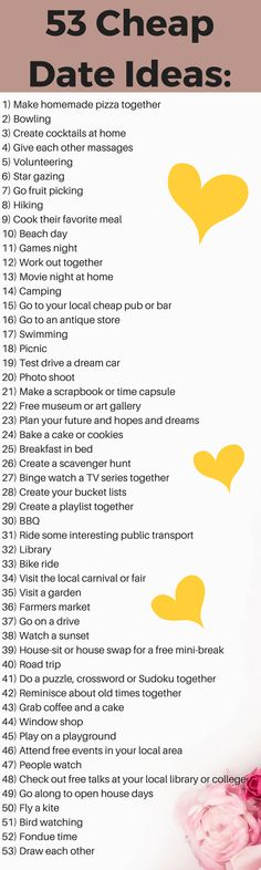 On a budget and needing to save money but still want to rock your date's world? Then you need to check out these 53 cheap date ideas!!! Whether you need cheap date ideas for college student, cheap date ideas for married couples or cheap date ideas for boyfriends, then this post has it covered! Whether it's Winter or Summer, listed here are 53 romantic and fun date ideas for if you're on a budget! Perfect for Valentines Day or if you're just frugal! #datenightideas #dateideas #cheapdateideas