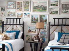 Such a cute idea for a cabin or cottage kid's room. I LOVE  the use of old paint-by-numbers pictures.