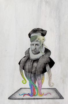 A la manera de Brett Ryder. Lápiz acuarelable (+¿tinta?). Ana Ramos . 2º Ciclo Diseño Gráfico. 2012