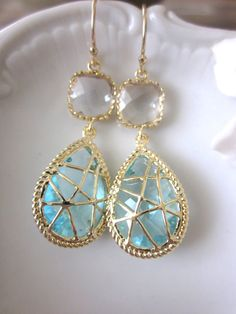 Crystal Aquamarine Earrings Gold Plated Blue- Bridesmaid Earrings Wedding Earrings Bridesmaid Jewelry