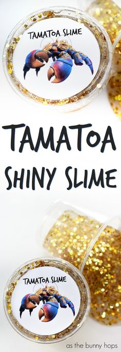 This Tamatoa Shiny Slime sparkles like a wealthy woman's neck! Make your own in minutes with just four ingredients. Lid printable included with a special version for Valentine's Day!